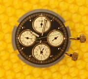 Seiko 7t34b Movement + Dial + Hands + Stems + Crowns Made In Japan P/r
