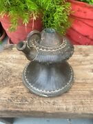 1700's Antique Brass Bidri Hand Crafted Carving Floral Mughal Hookah Hooka Pot