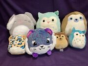 6 Med And Small Squishmallows Owl Hedgehog Sloth Bunny + Tiger Pikmi Pop