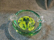 2 Vintage Art Glass Ashtrays Hand-blown Flowers Paperweights Blue And Yellow