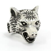Silver Ring Anger Forest Wolf Head Sv925 Us8 Used Mint Condition Silver