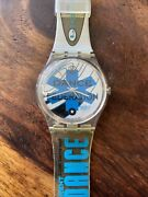 Gk201 Swatch 95 Ice Dance Federation Blue Swiss Made Works Collector