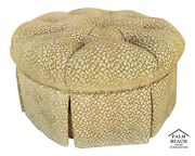 Large Upholstered Coral Pattern Tufted Skirted Pouf Ottoman Footstool