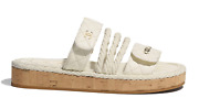 21s Dad Ivory White Cord Rope Cc Quilted Mule Slide Strap Sandal Flat 39