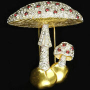 Trifari And039alfred Philippeand039 Gold Pave And Ruby Cabochons Double Mushroom Pin Clip