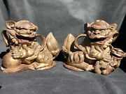 A Pair Of Antique Chinese Hand Carved Wooden Fu Foo Lions /temple Dogs