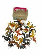 Vintage Lot Of 50 Small Plastic Wild Zoo Animals With Case Hong Kong Toys