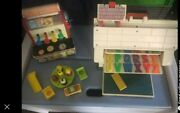 Vintage Fisher Price Little People Play Family School And1960's Fp Cash Register