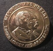Huge And Rare 1896 Mckinley And Hobart Sound Money Protection President Button Pin