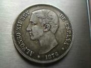 Antique 900 Silver Coin 5 Pesetas Alfonso Xii 1876 Dem Justice And Liberty Edge