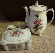 Vintage Collectible Japan Moss Rose Electric Teapot And Tea Bag Holders