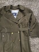 Trench Coat - Mens Long Wool Lined Rain Jacket Dark Green