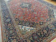 5x7 Genuine Kashaan Signed Oriental Area Rug Wool Red Navy Blue Green Wow