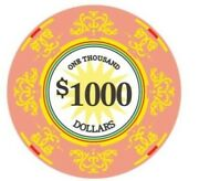 1000 Classic Scroll Ceramic 10 Gram - 100 Poker Chips New Exclusive Style