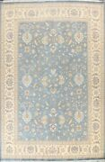 Traditional Floral Oriental Area Rug Hand-knotted Wool 9x12 Ft Light Blue Carpet