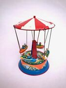 Vintage Tin Litho Sky Flying Rocket Ride Made In Western Germany