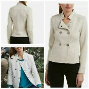 Cabi Charlie Double Breasted Moto Style Snap Knit Jacket Style 3028 Oatmeal M
