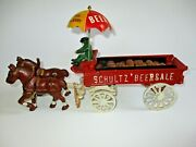 Schultz Beer And Ale Cast Iron Horse And Wagon W/ 28 Wooden Beer Barrels