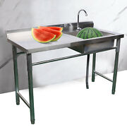 Stainless Steel Commercial Sink Bowl Kitchen Catering Prep Table 1 Compartment
