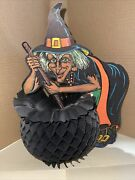 Vintage Halloween Beistle Tissue Paper Honeycomb Witch Brewing 1931 11 1/2andrdquox 8andrdquo