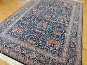 6x9 Gorgeous Garden Roses Flower Design Area Rug Wool Blue Red Pink Green