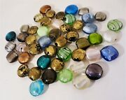 Lot Of 48 Assorted Lampwork Foil Core Glass Beads, Gold Pink Blue Green
