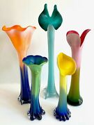 Vtg 1990and039s Post Modern Art Glass Multicolor Flowers Contemporary Vases - 5pc Set