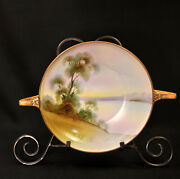 Nippon M-in-wreath Bowl Hand Painted Tree In Meadow W/brown Moriage 1911-1918