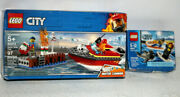 Lego City Lot Dock Side Fire 60213 Surfer Rescue 60011 New Boxes Show Wear