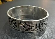 Old Pawn Indian Jewelry Hopi Carved Silver Bracelet Signed Tc Hy