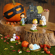 Dept 56 Peanuts Halloween Snoopy Linus Lucy Sally Haunted House Set Of 6 New