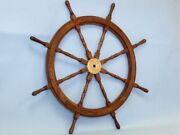 36and039and039 Wood And Brass Decorative Ship Wheel - Nautical Home Decoration - Nautical