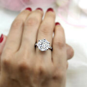 8.5 Ct Huge Round Solitaire Moissanite Engagement 14kt Real White Gold Ring