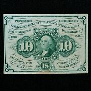 10c Fractional Note ✪ Au Almost Unc ✪ 1st Issue Straight Edge L@@k Now ◢trusted◣