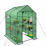 Walk In Greenhouse With Window Plant Gardening 2 Tiers 8 Shelves
