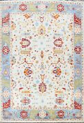 Ivory Floral Oriental Super Kazak Vegetable Dye Area Rug Wool Hand-knotted 9x12