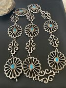 Vintage Native American Navajo Blue Turquoise Sterling Silver Concho Belt 1428