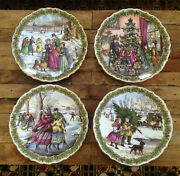 4 Lot Spode Victorian Christmas Series Plates 9.25 Excellent