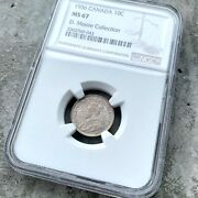 ✪ 1936 Canada 10 Cent Silver Coin Dime Ngc Ms Gem 67 - Stunning Toning
