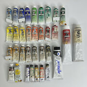 Lot Of 34 Winsor And Newton / Van Dyck Oil Paint Tubes