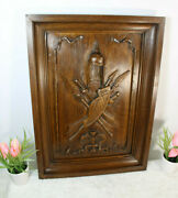 Antique French Oak Wood Carved Wall Hanging Castle Knight Panel Plaque