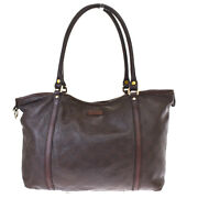 Auth Gg Pattern Logos Guccissima Shoulder Bag Leather Brown Italy 61mh430