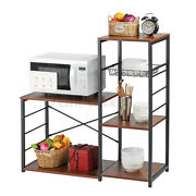 Wood Microwave Oven Rack Shelf Kitchen Utility Stand Storage Hold