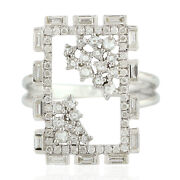 Memorial Day Sale 0.97 Natural Diamond Cocktail Ring 18k White Gold Jewelry