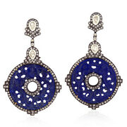 18k Gold Carved Lapis Earrings 925 Sterling Silver Pave Diamond Antique Jewelry