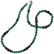 Carved Bead Onyx Diamond Bead Necklace 925 Sterling Silver Jewelry Handmade