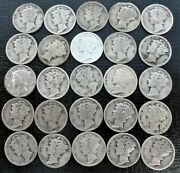 Half Roll Of 25 Mercury Silver Dimes 1930 P S And 1931 Pds Key Dates
