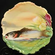 Limoges Flambeau Fish Charger 11 Plate 1890-1914 Artist Signed Mab Yellow Gold