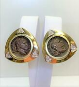 Pair 14k Yellow Gold Roman Coin And Diamond Clip Earrings