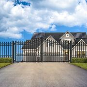 Aleko Steel Yard Garden Iron Wrought Dual Driveway Gate 16and039x6and039 Moscow Style